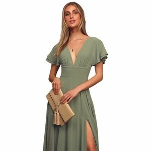 LULU'S Sage Brush Flutter Sleeve Maxi Dress